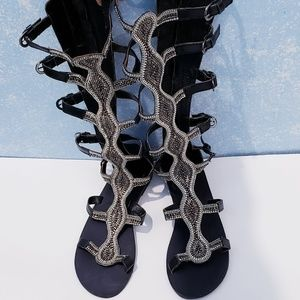 🆕️ Rebels Black Leather Beaded Gladiator Sandals